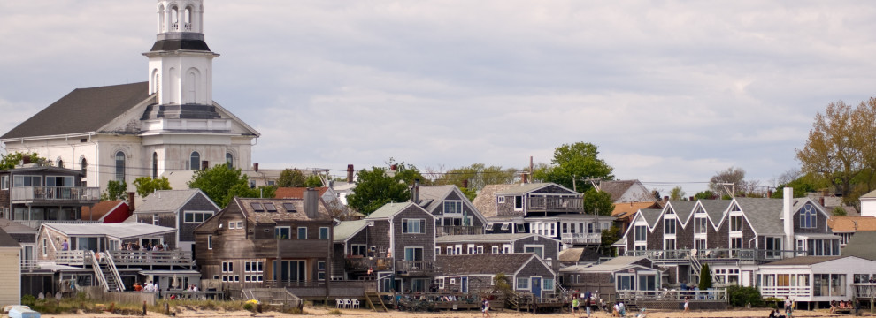 Beachfront houses in Provincetown, Cape Cod, Massachusetts, USA at the beginning of summer