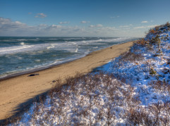 Snow on the beach at Nauset Light Beach, Cape Cod-greyscale.