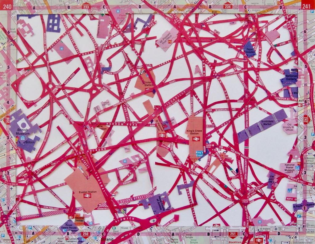 Sian Robertson, Spun Sugar, 2017, Excavated Vintage Maps, 7.75x9.75